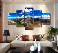 5 Pieces Set Diamond Beauty Of The Mountain Printed Painting Wall Art Home Decor Wall Pictures