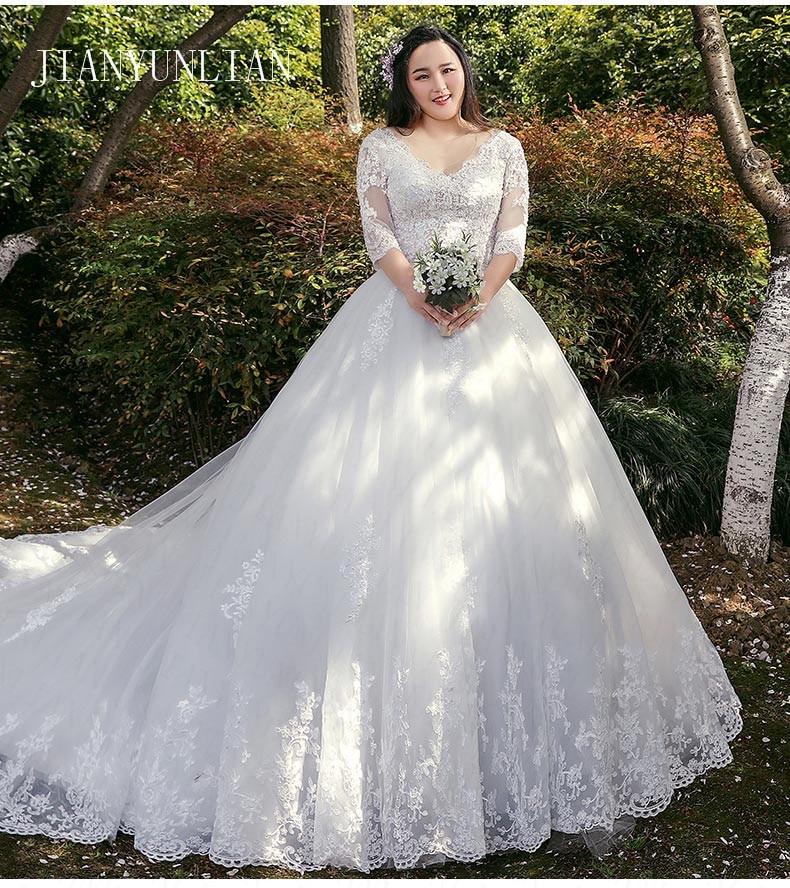 Half Sleeves Vestido De Noiva Lace Gowns Wedding Dress Train Custom-made Plus Size Bridal Tulle Mariage