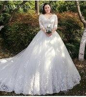 Half Sleeves Vestido De Noiva Lace Gowns Wedding Dress Train Custom made Plus Size Bridal Tulle Mariage