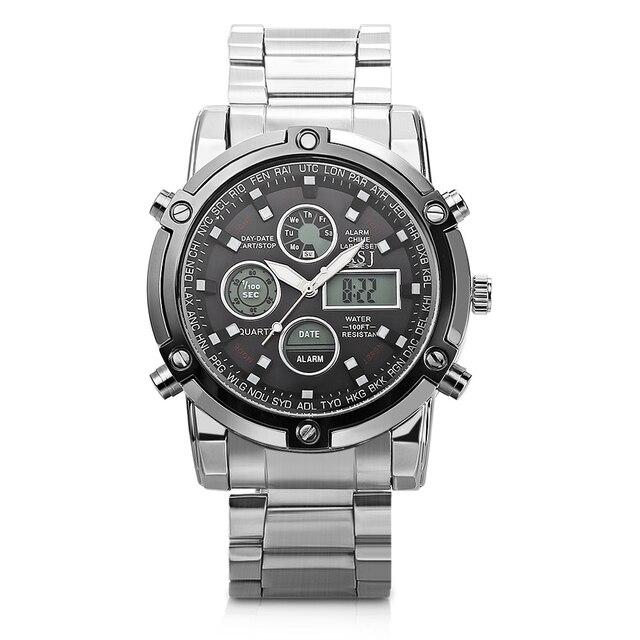 dd495617ea1 ASJ B42 Homens Relógios Em Aço Inoxidável Cronógrafo Alarme Analógico-digital  Relógio Esportivo À Prova