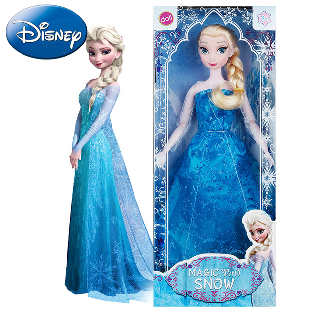 Disney Authentic Frozen Snow Doll Girl Stuffed Toys Elsa Anna Princess Plush Doll Dressing Toy Kids Cartoon Birthday Gift Child