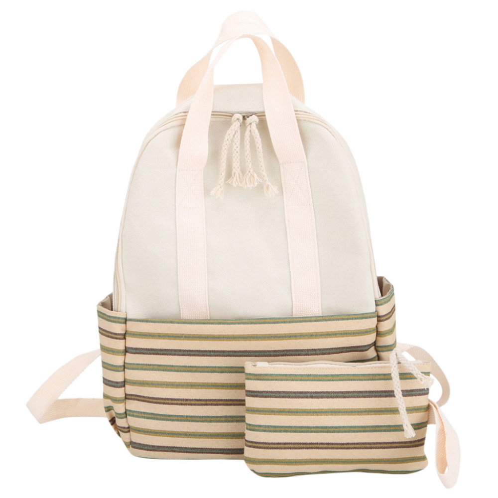 Woman Fashion Trendy Fresh Stripe Backpack Ladies Canvas Large Capacity Campus Style Backpacks Two Shoulder Schoolbag 10May 10Woman Fashion Trendy Fresh Stripe Backpack Ladies Canvas Large Capacity Campus Style Backpacks Two Shoulder Schoolbag 10May 10