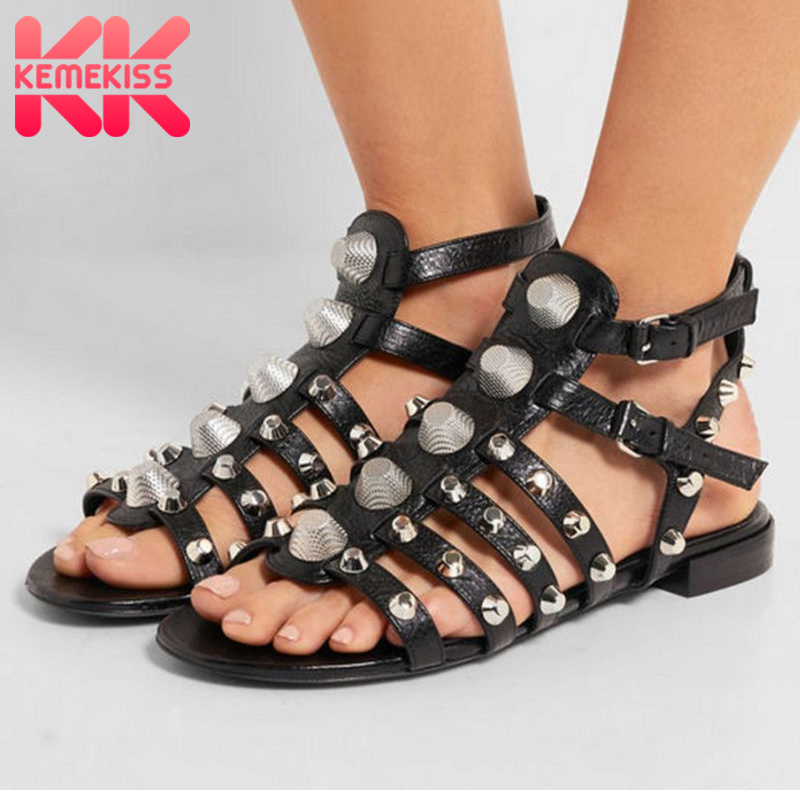 KemeKiss Size 34 43 New Arrival Punk Style Rivets Sandals Women Genuine Leather Gladiator Sandals Cool