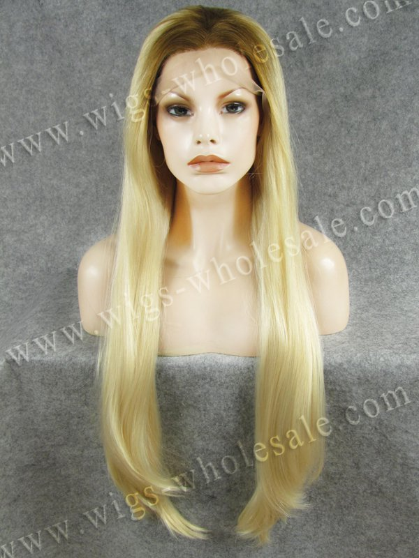 ФОТО Silk Straight Extra Long 30 Inch Wig Ombre Wig Two Tone Blonde Mixed Synthetic Lace Wig
