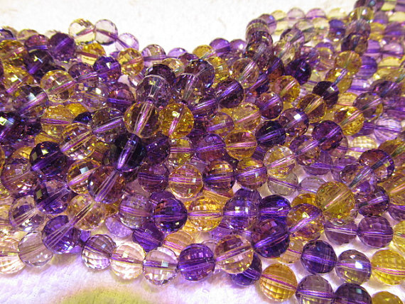 handmade rock crystal quartz 8mm 16inch strand,purple yellow round ball jewelry beads necklace