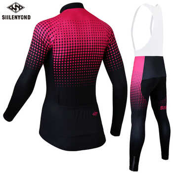 Siilenyond Women Pro Winter Thermal Fleece Cycling Jersey Set MTB Bicycle Cycling Clothes Keep Warm Bike Cycling Clothing Suit
