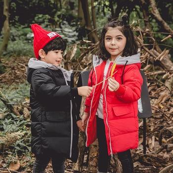 RUICHENG 2018 Down Coat Boys Middle- Long Parkas Hooded Girls Winter Jacket Kids Baby Girl Clothes Manteau Enfant Fille Hiver
