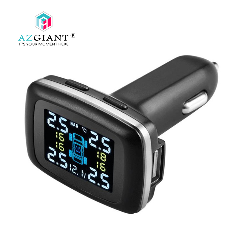 AZGIANT External Car TPMS Tire Pressure Monitoring System cigarette lighter Auto Security Alarm Systems Tyre Pressure маркер флуоресцентный centropen 8722 1о оранжевый 8722 1о