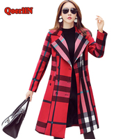 QoerliN Double Breasted Button Coat Trench Womens 2017 Autumn Winter Long Sleeve Turn Down Woolen Dress