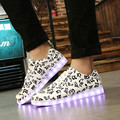 New Fashion 7 color led light flat shoes usb charging unisex shoes fluorescent luminous Musical notes Printing shoes 35-46 size