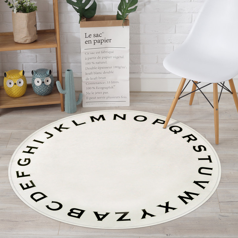 Children Letters Round Carpet Education Carpet Kids Room Computer Chair Round Rug Cloakroom Floor Mat Home Entrance Doormat