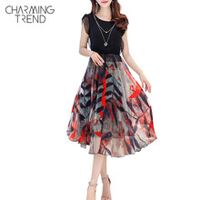 Charmingtrend Woman Dress 2017 Plus Size MaxiFashion Dress 2XL 3XL Round Neck Printed Chiffon Petal Sleeve Flower Ladies Dresses