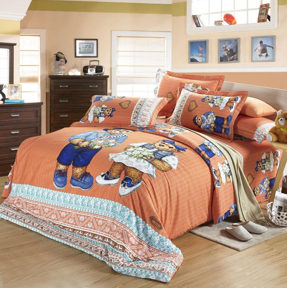 teddy bear bed sheet bedding set king queen size full. Black Bedroom Furniture Sets. Home Design Ideas