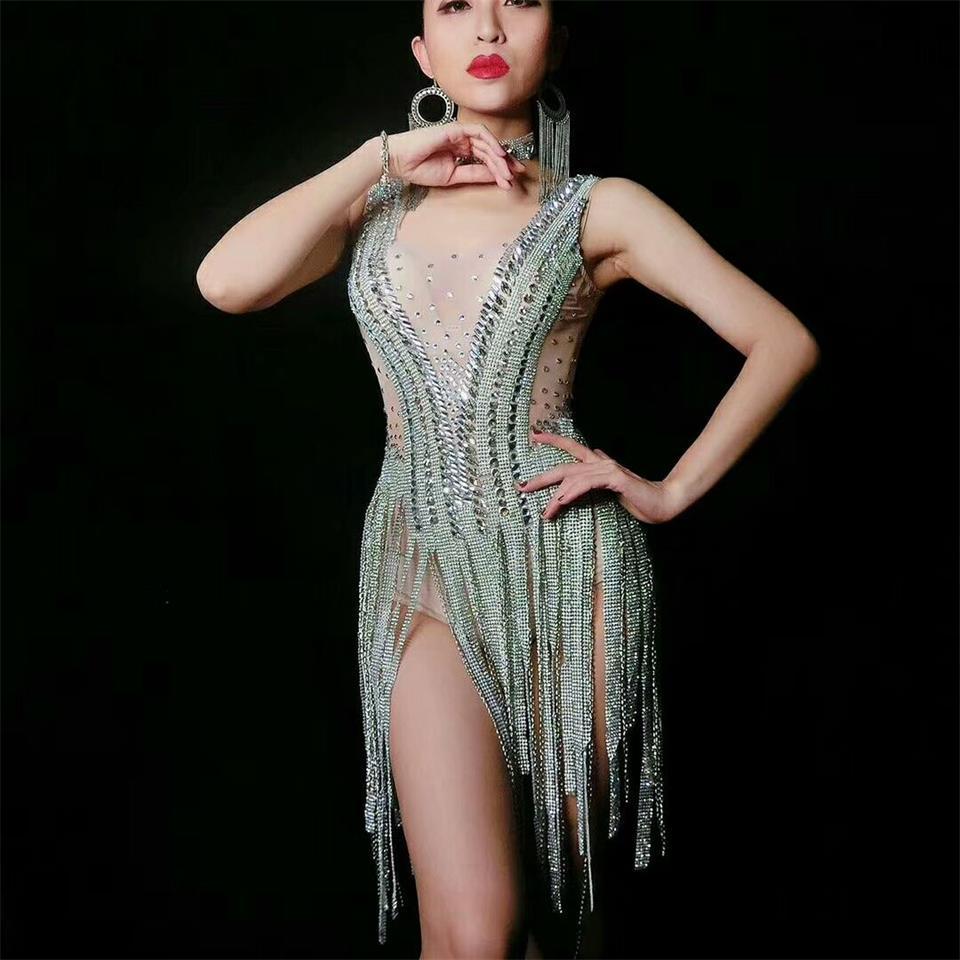 Brillant argent strass robe femmes chanteur danseur brillant cristal body Costume pièce discothèque robe Oufit robes de fête