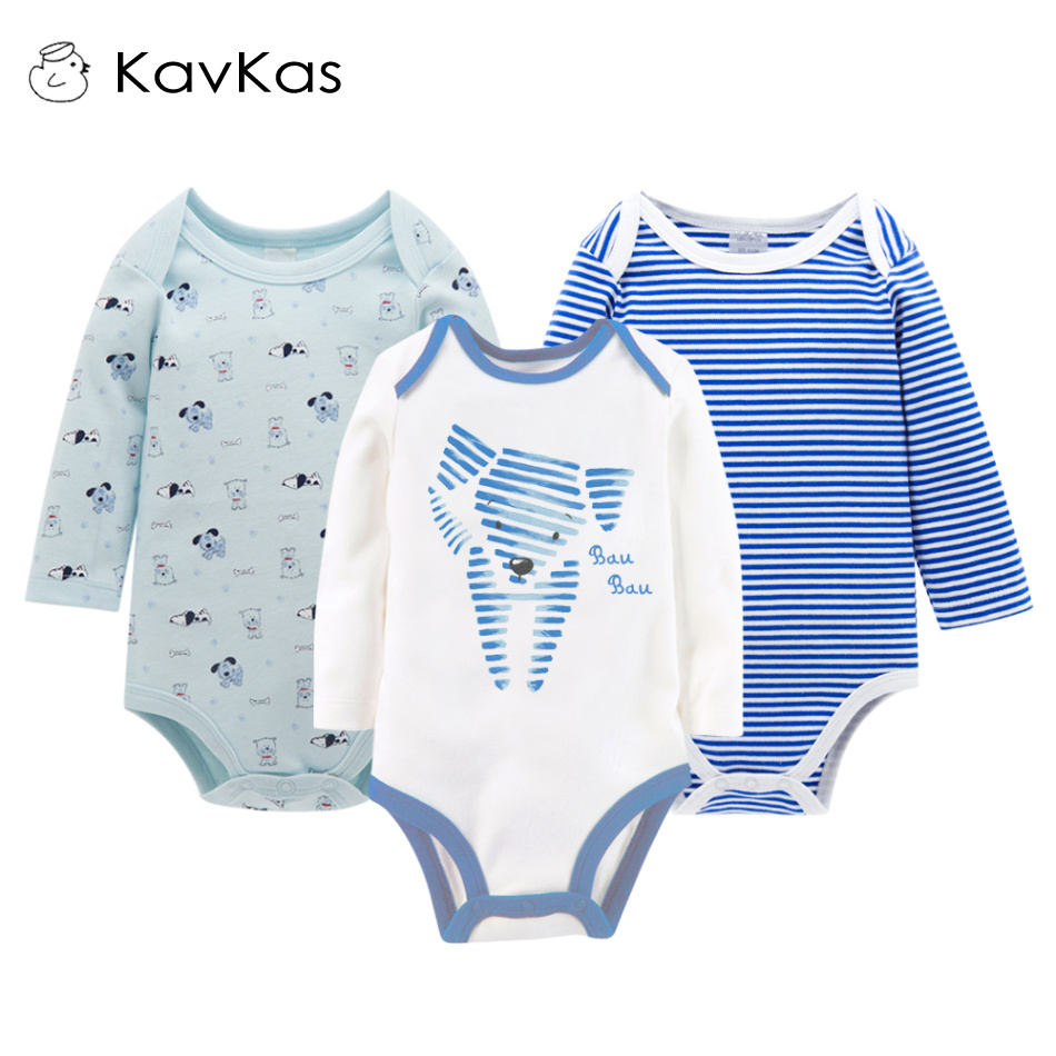 Kavkas Baby Boy Romper Long Sleeve Jumpsuits 3pcs/Set Winter Newborn Baby Boy Clothes Mamelucos Bebes