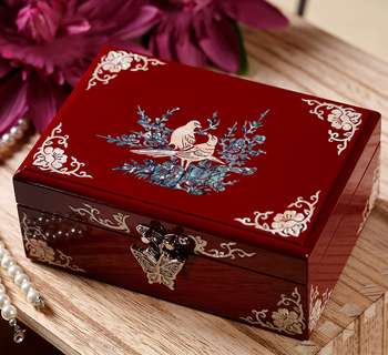 Christmas Birthday wedding High-grade gift BEST present -TOP Hand carving bird Magpie wood Inlay shells Jewelry Lacquer Box