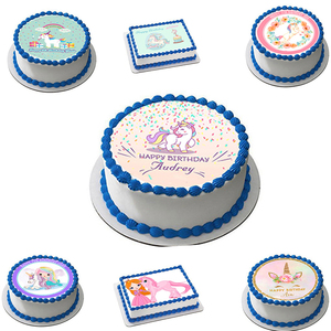 Unicorn Shape Edible Wafer Paper For Cake Decoration,Girls Birthday Party Cake Decoration,