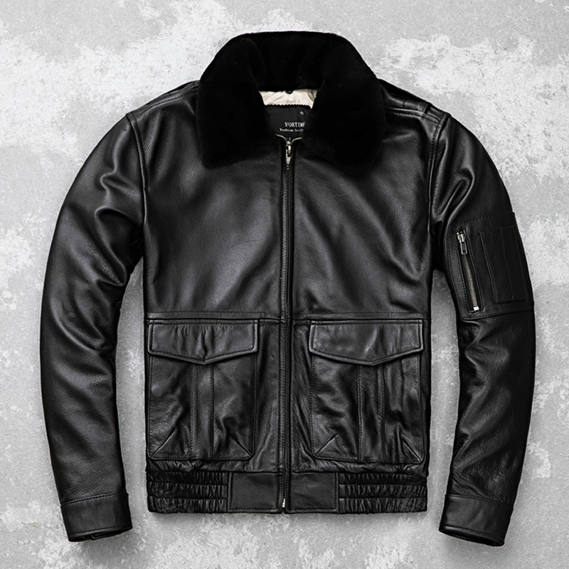 HARLEY DAMSON Black Men UASF Pilot Leather Jacket Plus Size 5XL Genuine Wool Collar Thick Cowhide Winter Aviator Leather Coat-in Genuine Leather Coats from Men's Clothing    2