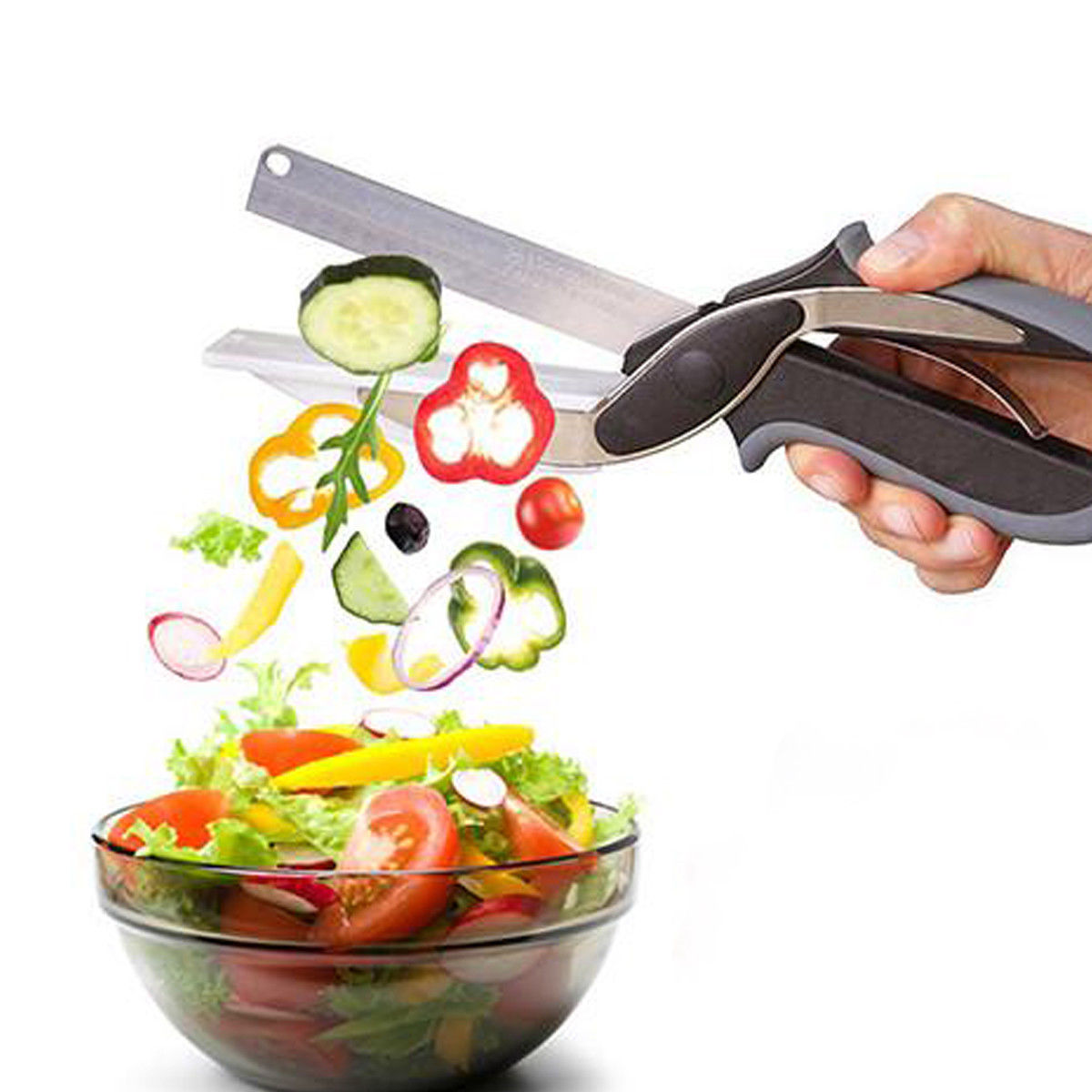 2 in 1 Stainless Steel Kitchen Knife and Scissors for Cutting and Chopping Fruits and Vegetable 7