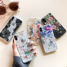 Gold Foil Flowers Phone Cases For iphone X Case XS Max XR 8 7 6S 6 Plus Clear Soft TPU Silver Gloss Lace Floral Back Cover