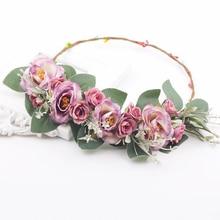 Greenery Style Handmade artificial flower women girl princess crown headband wedding bridal fabric floral hair decoration wreath