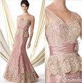 2016 Elegant Light Pink vestido de madrina lf2739 madre vestido de la novia sirena apliques de encaje mujeres boda vestido de fiesta Formal
