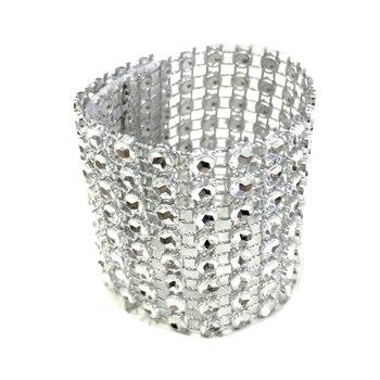 10 unids/pack oro/plata 8 filas de malla de diamante de diamantes de imitación arco cubre boda servilleta anillos DIY decoraciones de mesa decoración arte