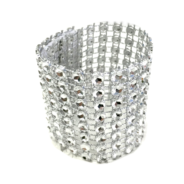 10pcs Pack Gold Silver 8 Rows Diamond Mesh Rhinestone Bow Covers Holders Wedding  Napkin a2e735496eef