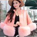 Women Faux Fur Coat Long Overcoat for Winter Faux Leather Patchwork High Quality