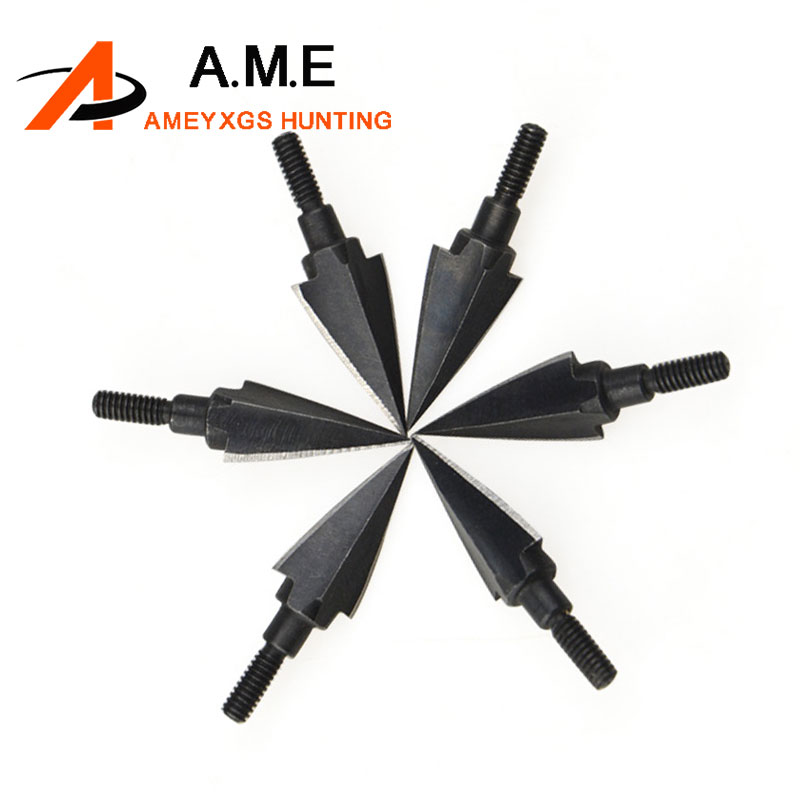 6pcs 108 Grain Black Traditional Trigonous Broadheads Arrowheads For Hunting Arrow Heads Archery Crossbow