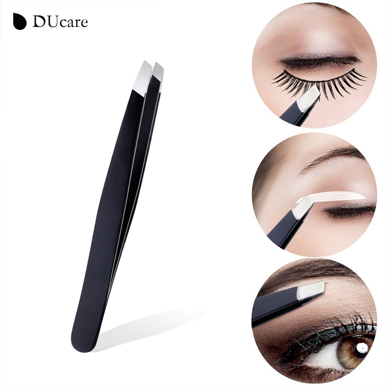 Image 4 - DUcare 3 PCS Eyebrow Tweezers Stainless Steel Hair Removal Makeup Tool Kit with Bag Point Tip/Slant Tip/Flat Tip pinzas pincet-in Eyebrow Tweezers from Beauty & Health