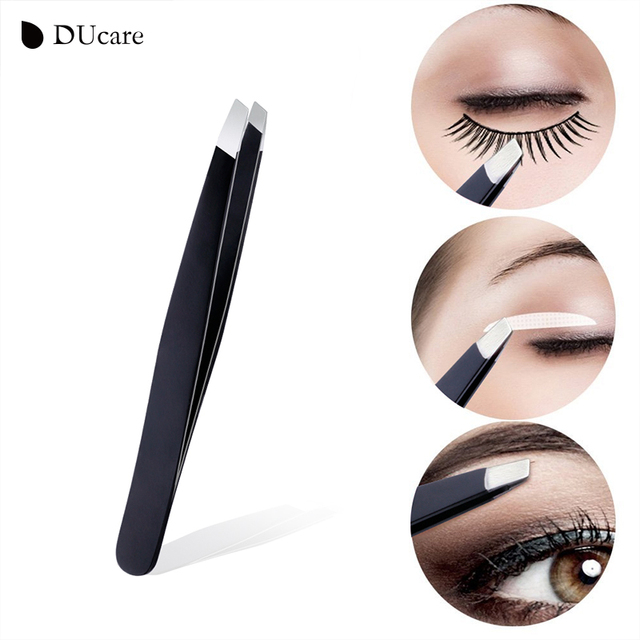 DUcare 3 PCS Eyebrow Tweezers Stainless Steel Hair Removal Makeup Tool Kit with Bag Point Tip/Slant Tip/Flat Tip pinzas pincet 3