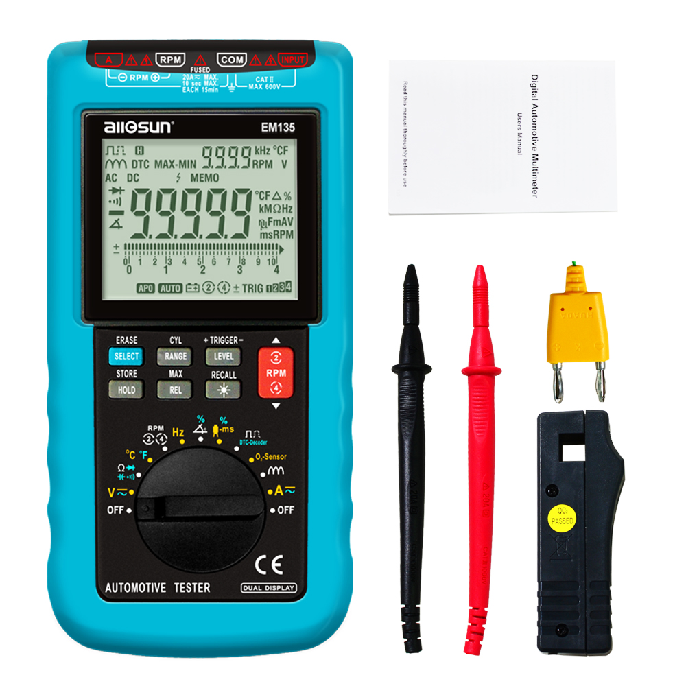 all sun EM135 Modern Digital Automotive Multimeter 20A ACA DCA LCD Autorange Automotive Tester O2 sensor
