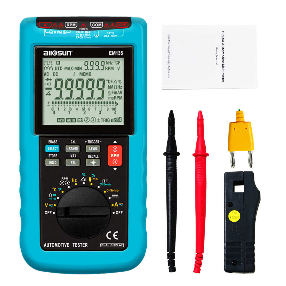 All-sole EM135 Moderna Digital Automotive Multimeter 20A ACA/DCA/LCD Autorange Automotive Tester di O2-sensor Temp.RPM di Sosta Angolo