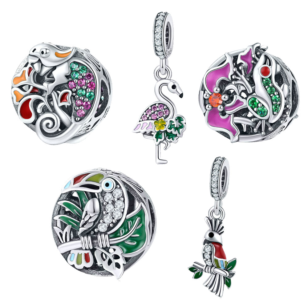BISAER High Quality 925 Sterling Silver Tropical Forest Animal Parrot Lizard Toucan Charms Beads fit for Jewelry Making DIY chic tropical plants and toucan pattern flax pillowcase without pillow inner