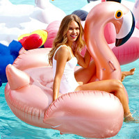 150cm 59inch Inflatable Flamingo Rose Gold Giant Pool Float Toys Swimming Ring Circle Sea Mattress Beach Party Unicorn