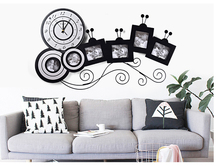 Big Photo Wall Clock With Picture Frame Living Room Wall Clock Wooden Large Home Decor Photo Wall Clock Kid Room Art Watch Clock