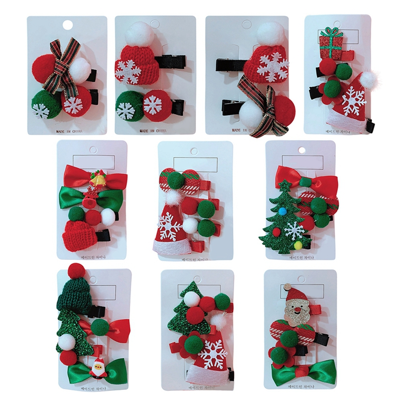 Cute Girls Hair Clips Christmas Santa Claus Design Hair Pin Set Children Hairpin Princess Hair Accessories