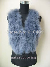 size S-M-L-XL  free shipping/Genuine Real ostrich feather fur    vest   new style / gray #1