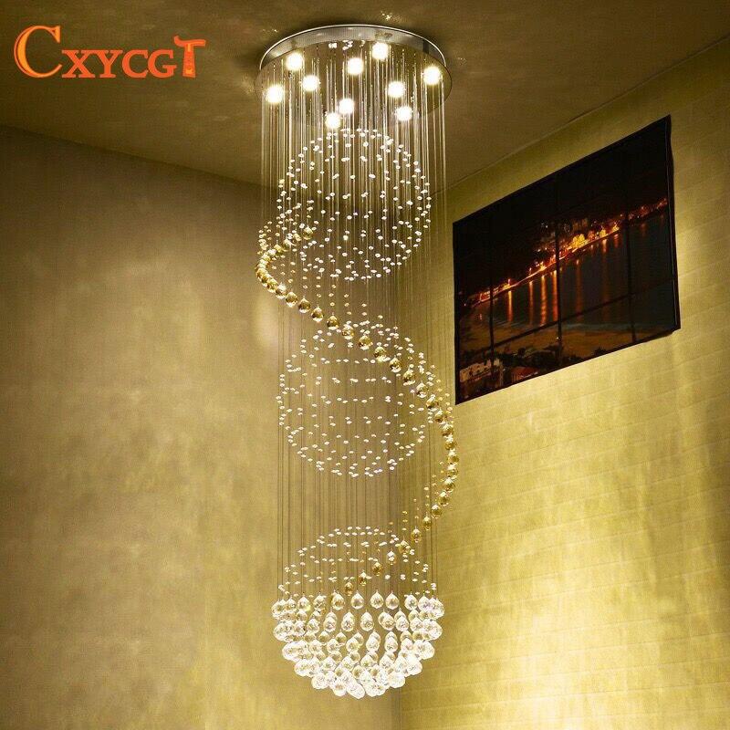 K9 Cristal Escalier LED Lustres Moderne Artistique Spirale Suspension Éclairages Restaurant Hôtel Villa Hall Grande Suspension