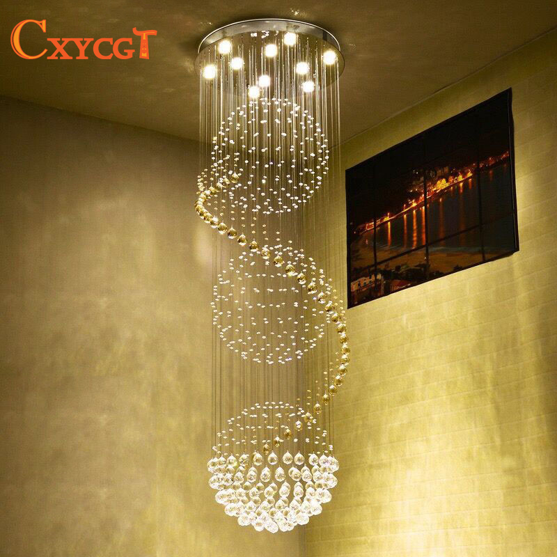 K9 Crystal Stair Led Chandeliers Modern Artistic Spiral Suspension Lightings Restaurant Hotel Villa Lobby Large Hanging Lamp In From Lights