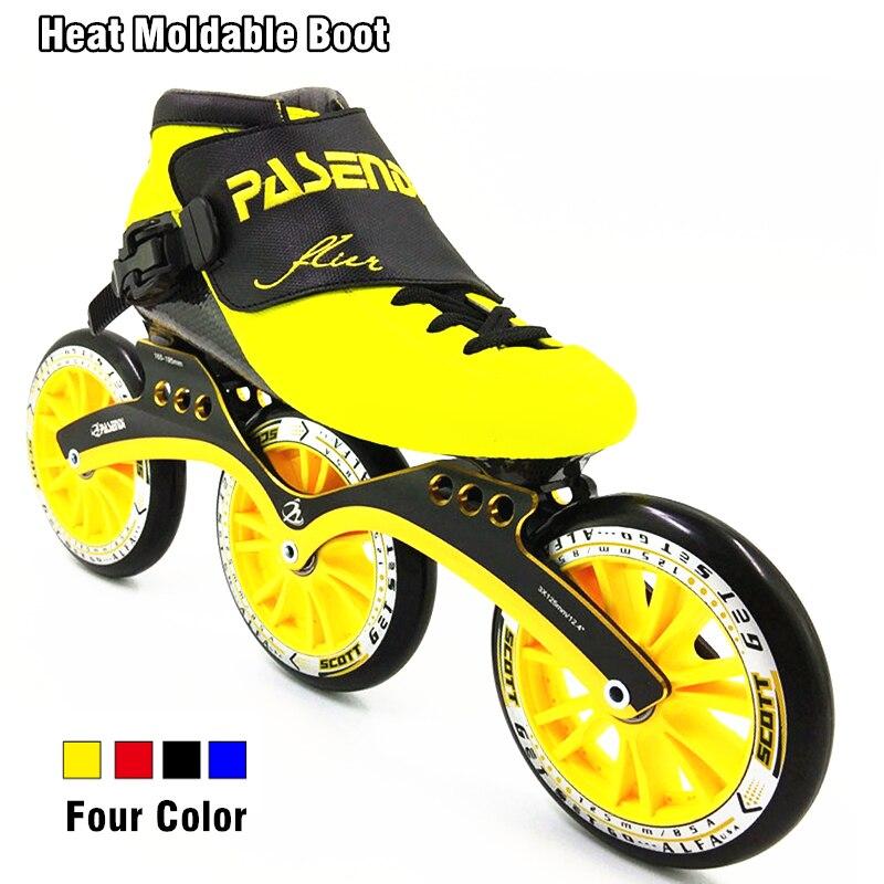 PASENDI Heat moldable углерода загрузки гонки на скорость skate 3 колеса роликовых коньков 125 мм большие колеса