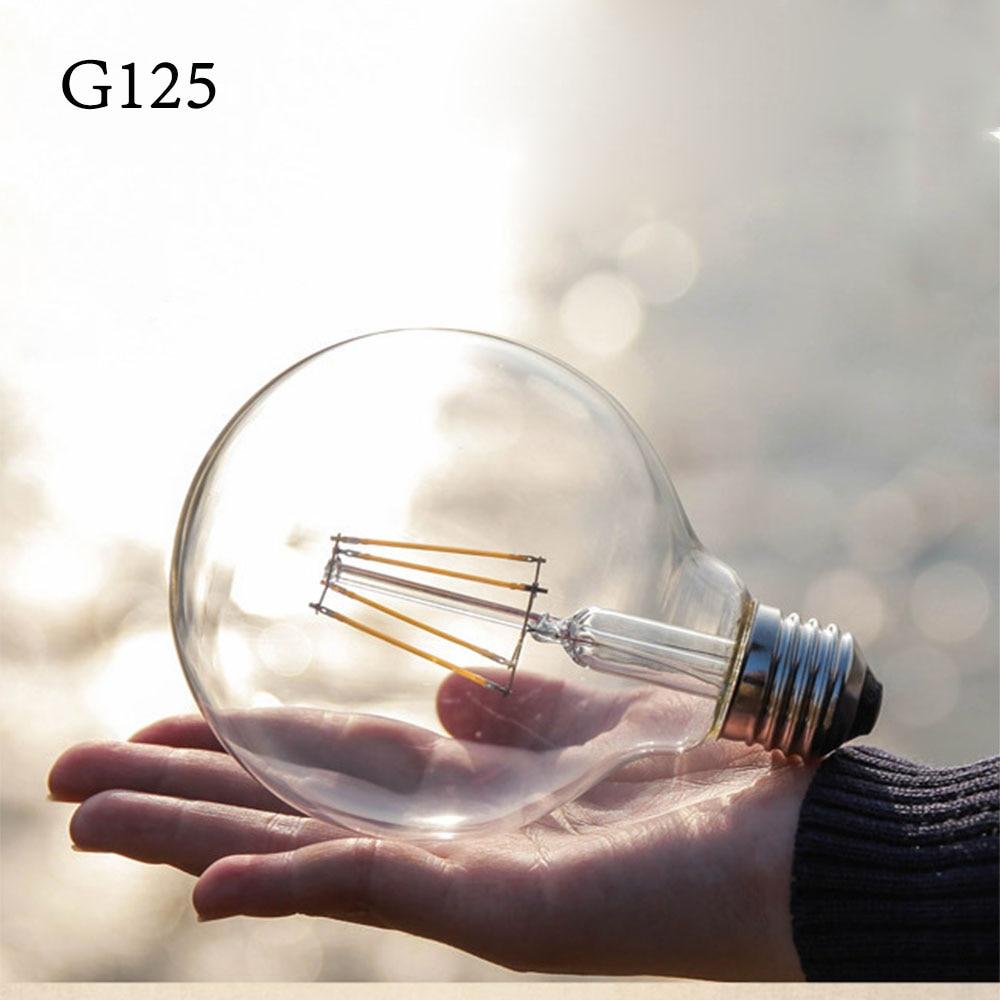 G125 Led Filament Bulb Globe light bulb 4W 6W 8W Retro led Edison Bulb Clear Glass Indoor House Home lighting Big lamp E27 220V