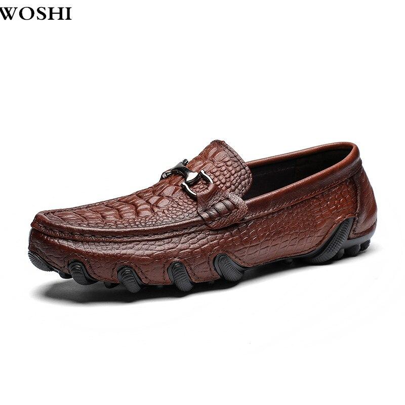 Tamanho 38-47 genuínas dos homens de Couro Sapatos Casuais ao ar livre Homens Loafer Crocodilo Mocassins Homens Mocassins de Couro de Barco Casuais sapatos L5