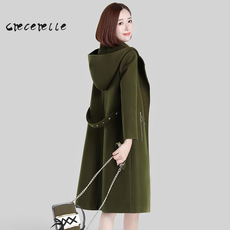 Xl Women 2018 New Winter Long Woolen Coat Knee Cloth Coat Women Plus Size Suit Plus Size Feminino Belle Cascading Ruffle D488