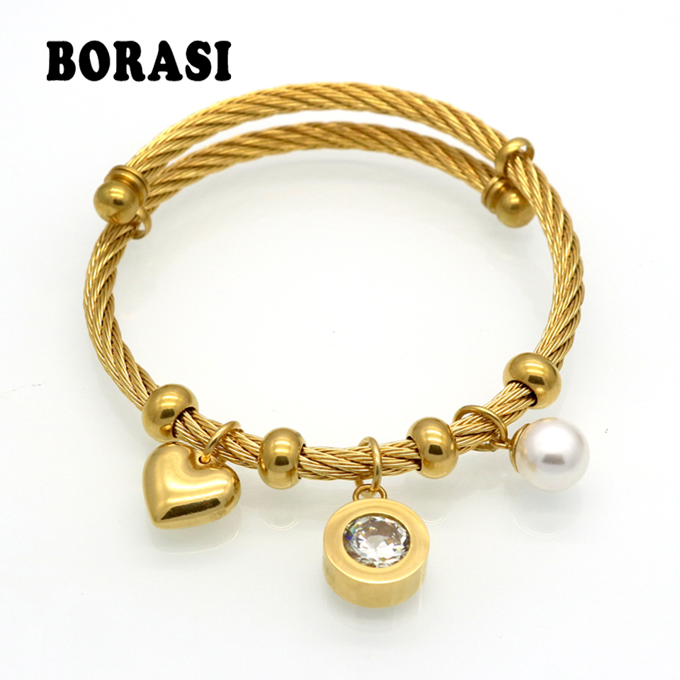 Charm Bracelet Gold: Fashion Stainless Steel Gold Color Heart Charm Bracelets