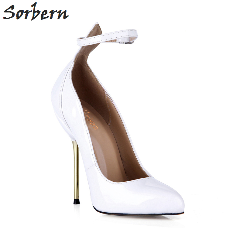 Sorbern blanc talons Pointe Toe Vintage dames chaussures de bal Sexy talons cheville sangles personnalisé mode chaussures 2018 luxe femmes - 4