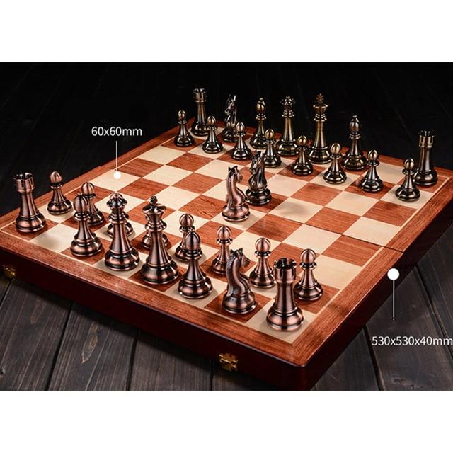 Buy Best Metal Chess Set High-grade Gift Travel International Chess Game Folding Wooden Mold Chessboard Kirsite Chess Pieces Metal Chessmen-