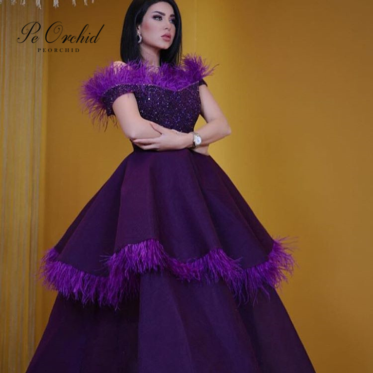 PEORCHID Beaded Dark Purple   Evening     Dress   With Feather Abiti Da Sera Eleganti Ladies Long Formal   Dresses   For Special Occasions