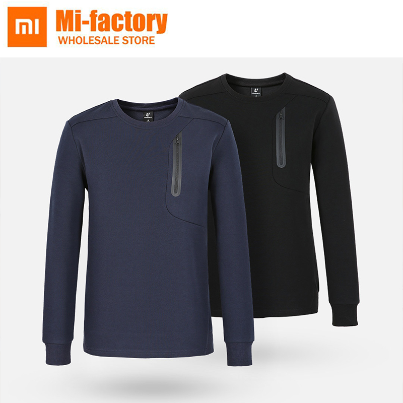 XiaoMi Mijia Uleemark Men's crew neck sports sweater Black O-neck sweater with fashion zipper crew neck colorful animal pattern tee